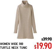 WOMEN WIDE RIB TURTLE NECK TUNIC