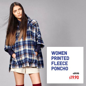 WOMEN PRINTED FLEECE PONCHO