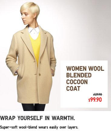 WOMEN WOOL BLENDED COCOON COAT