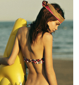 Black Poppy Triangle Bikini