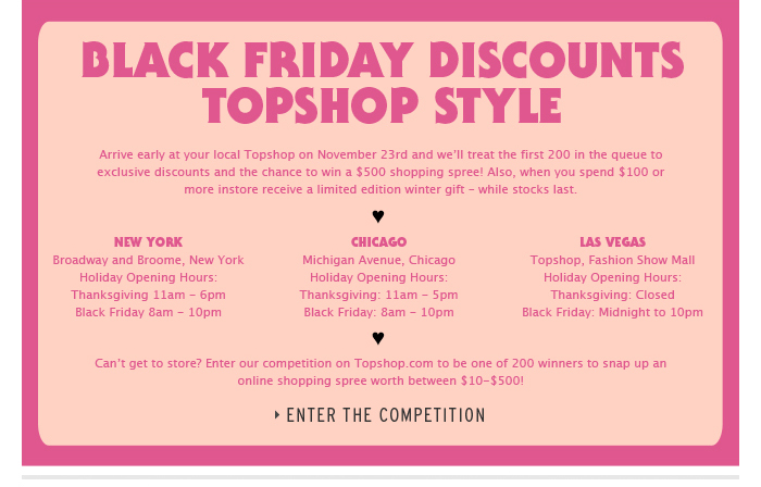 Black Friday Discounts Topshop Style - Enter the competition