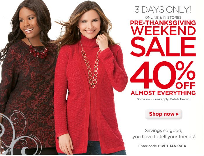 Pre-Thanksgiving Weekend Sale: 40% off Almost Everything