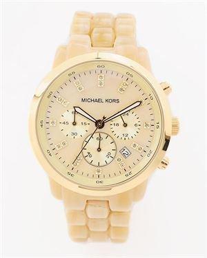 Michael Kors Ladies Goldtone Acrylic Horn Link Bracelet Watch $189