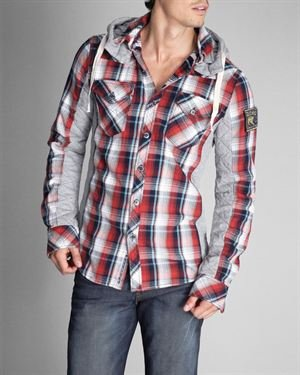 Parasuco Check Print & Solid Color Inlays Quilted Hooded Shirt $55