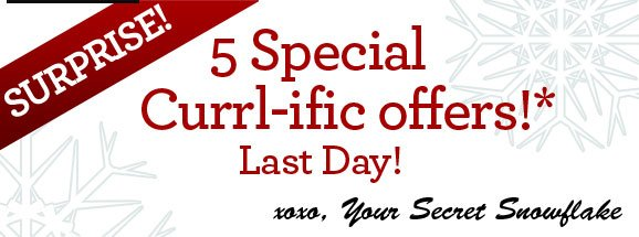 SURPRISE! 5 Special Currl-ific offers!* Last Day! xoxo, Your Secret Snowflake