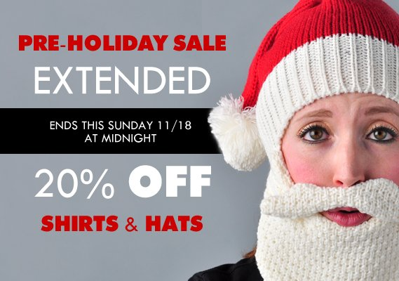 20% Off Pre-Holiday Sale Extended