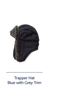 Trapper Hat Blue with Grey Trim