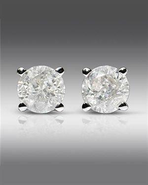 0.5 CTW Diamonds Ladies Earrings Designed In 14K White Gold