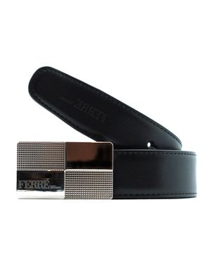 Gianfranco Ferre Reversible Textured Genuine Leather Belt
