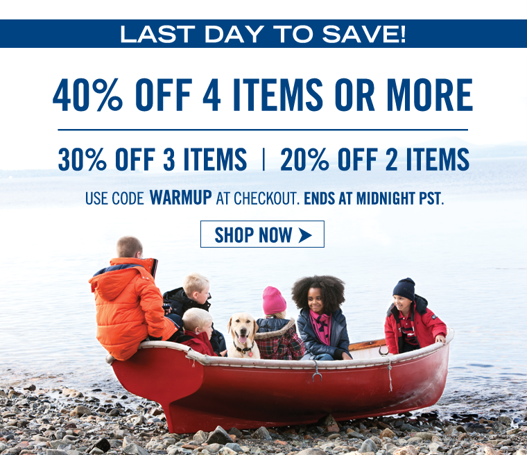 LAST DAY TO SAVE! Buy 4, Get 40% off.