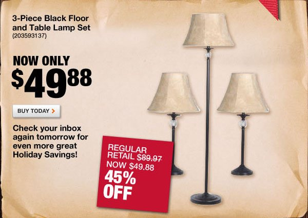 3-Piece Black Floor and Table Lamp Set