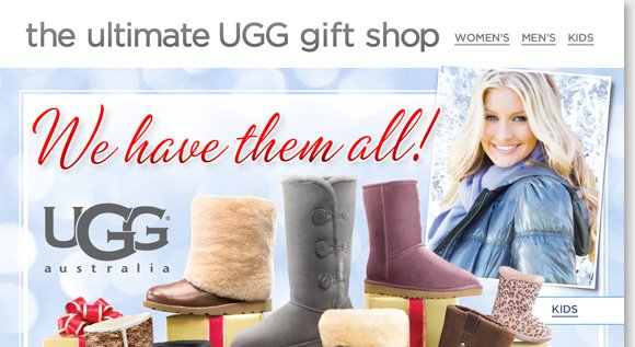 Get ready for the holiday season and shop the ultimate UGG® Australia Gift Shop! Featuring great boots, slippers, and more for women, men and kids, we have ALL the UGG® Australia styles for everyone on your list! Shop now to find the best selection online and in-stores at The Walking Company.