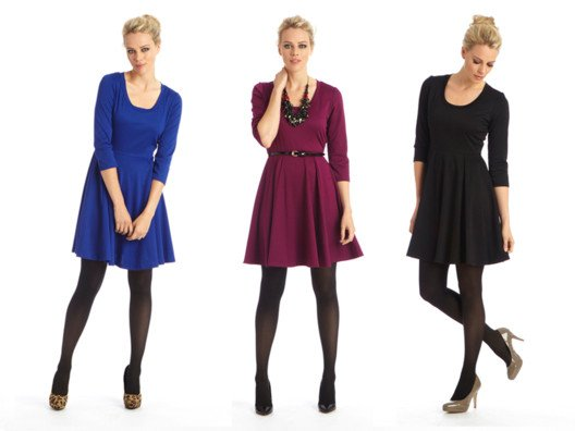 The silhouette is modest, fun and easy to wear. I love how the jewel tones pop against black tights and a heel.