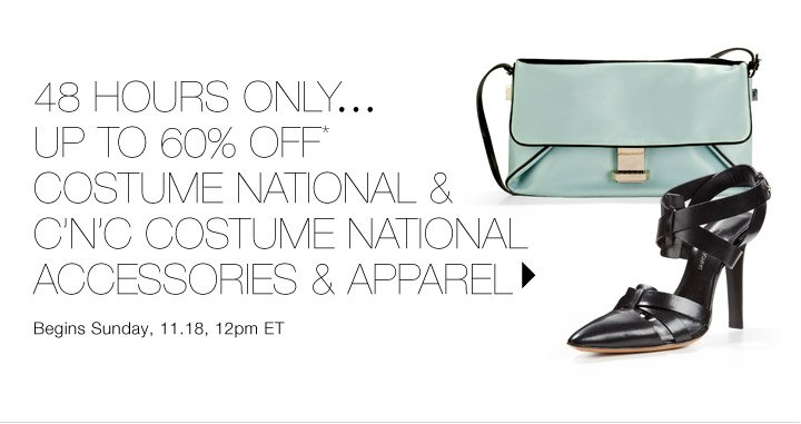 Up to 60% Off* Costume National Accessories & Apparel...Shop  now