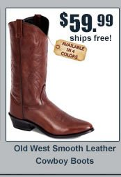 Old West Smooth Leather Cowboy Boots