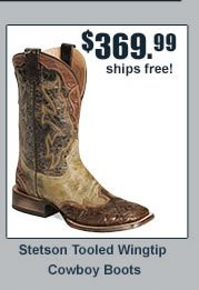 Stetson Tooled Wingtip Cowboy Boots
