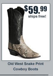 Old West Snake Print Cowboy Boots