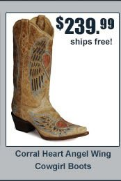 Corral Heart Angel Wing Cowgirl Boots