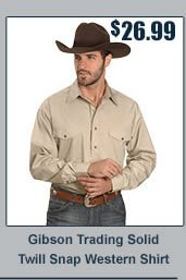 Gibson Trading Solid Twill Snap Western Shirt