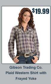 Gibson Plaid Western Frayed Yoke Shirt