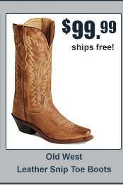 Old West Leather Snip Toe Boots