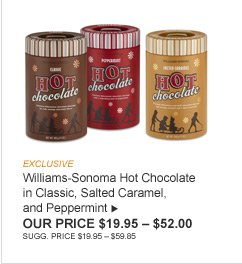 EXCLUSIVE -- Williams-Sonoma Hot Chocolate in Classic, Salted Caramel, and Peppermint -- OUR PRICE $19.95 – $52.00 -- SUGG. PRICE $19.95 – $59.85