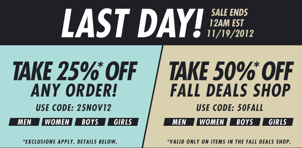 Two Ways to Save- 25% off or 50% off!
