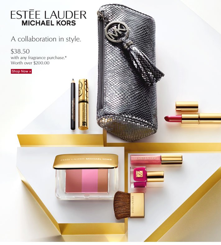 ESTÉE LAUDER  MICHAEL KORS  A collaboration in style.  $38.50 with any fragrance purchase*  Worth over $200.00  Shop Now »