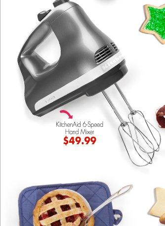 KitchenAid 6-Speed Hand Mixer $49.99