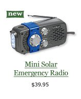 Mini Solar Emergency Radio, $39.95