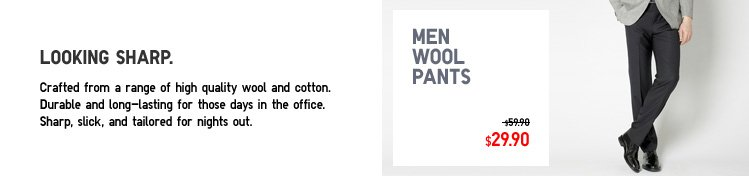 Men Wool Pants - Looking sharp. Crafted from a range of high quality wool and cotton. Durable and long-lasting for those days in the office. Sharp, slick, and tailored for nights out.