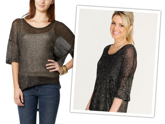 I love this metallic number. The sheerness of the knit adds sophisticated sexiness.