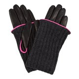 Paul Smith Gloves - Black Leather Ribbed Cuff Gloves