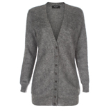 Paul Smith Knitwear - Long Grey Mohair Blend V-Neck Cardigan