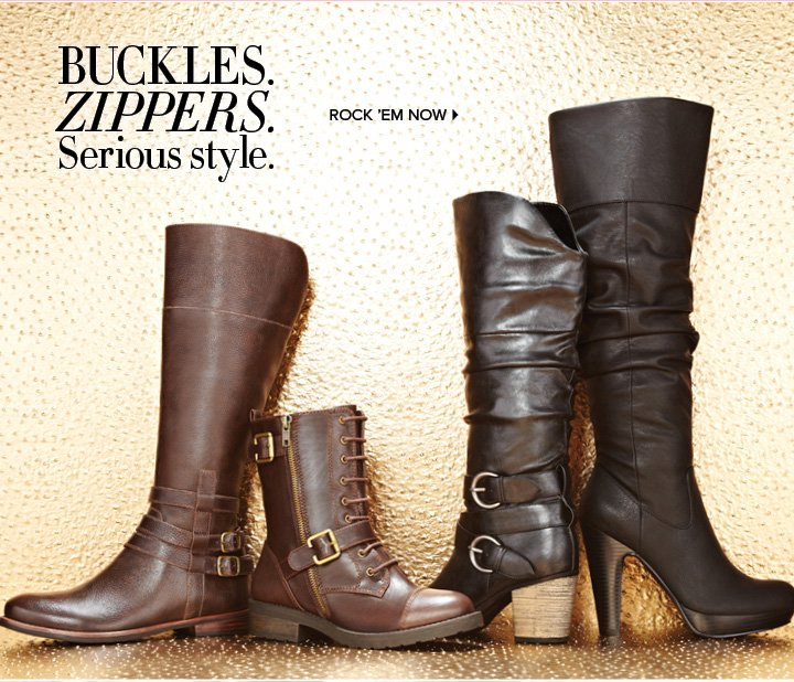 BUCKLESS.     ZIPPERS.     Serious style.          ROCK'EM NOW