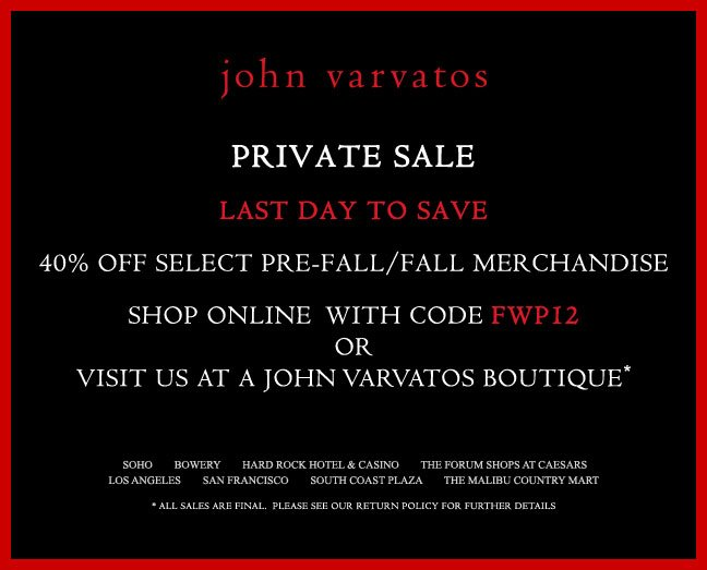 Last hours of Private Sale - Shop Now before it's open to the public!