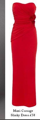 Maxi Corsage Slinky Dress