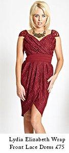 Lydia Elizabeth Wrap Front Lace Dress