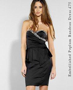 Embellished Peplum Bandeau Dress