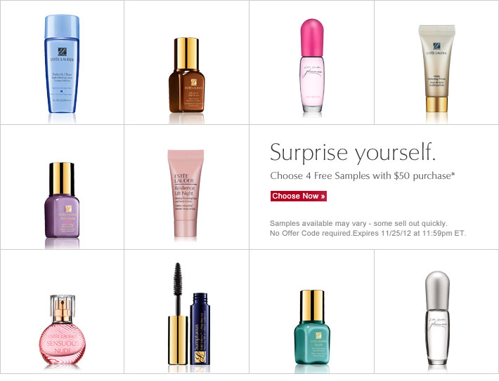 Surprise yourself. Choose 4 Free Samples with $50 purchase.  Choose Now »  Samples available may vary - some sell out quickly.