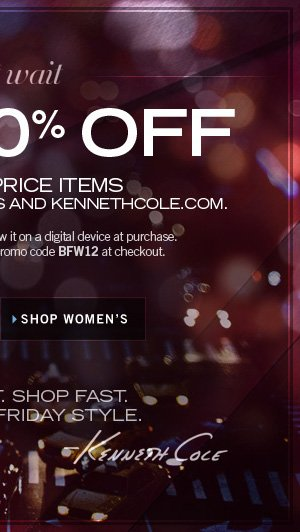 AT KENNETH COLE STORES AND KENNETHCOLE.COM / SHOP WOMEN'S