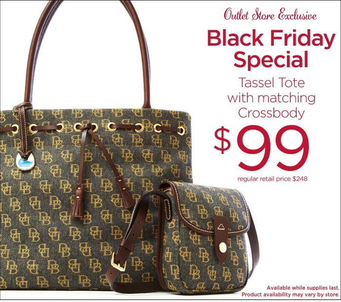 Outlet Exclusive - Outlet Exclusive - Black Friday Special Tassel Tote with matching Crossbody $99