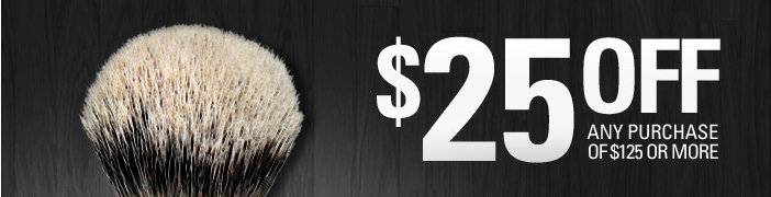 25$ Off any purchase of 125$ or more