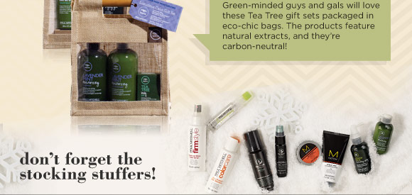 For the eco-conscious. Green-minded guys and gals will love these Tea Tree gift sets packaged in echo-chic bags. The products feature natural extracts, and they're carbon-neutral!