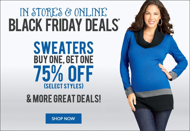 Black Friday Deals: SelectSweaters BOGO 75% Off and More - In Stores and Online