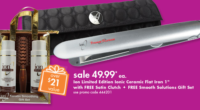 Ion Titanium Ceramic Flat Iron with Thermal Clutch Gift Set