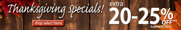 Thanksgiving Specials! An extra 20-25% OFF!