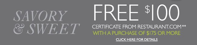 Free $100 Restaurant.com Certificate with $175 Purchase