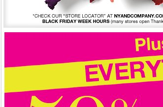 Everything is 50-70% off. Plus, Black Friday Door Busters, and a FREE watch!