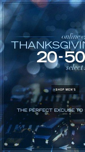 Online Exclusive Thanksgiving Day Sale / SHOP MEN'S
